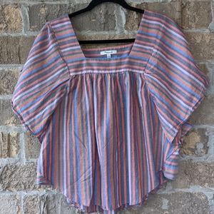 Madewell Rainbow Stripe Butterfly Top Large